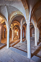 7th century crypt which was the burial place of saints Secondiano, Veriano and Marcelliano below the 8th century Romanesque Basilica church of St Peters, Tuscania, Lazio, Italy