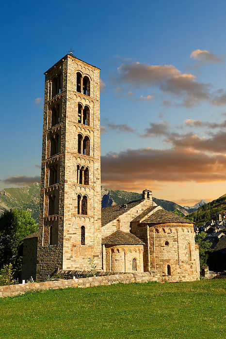 The twelth century Catalan Romanesque Church of Saint Climent in Taull, Vall de Boi, Spain. A UNESCO World Hertigae site and one of the best exapmles of Romanesque in Europe.