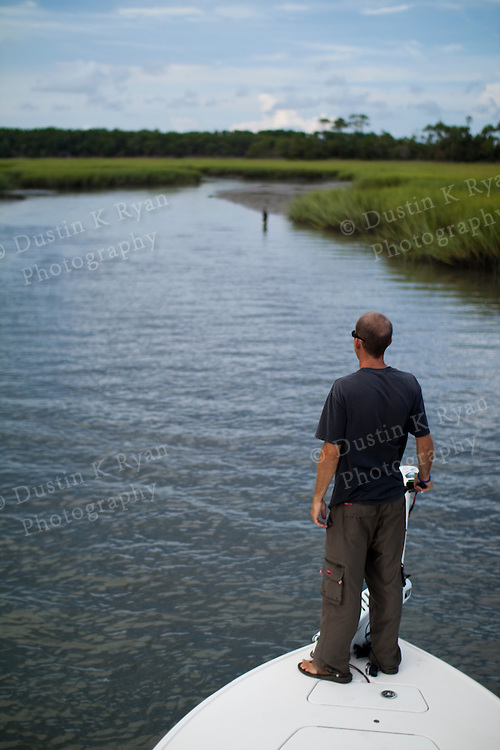 Fisherman fishing a tidal creek in the lowcountry