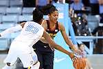 05 January 2014: North Carolina's Diamond DeShields (23) knocks the ball away from Maryland's Alyssa Thomas (behind). The University of North Carolina Tar Heels played the University of Maryland Terrapins in an NCAA Division I women's basketball game at Carmichael Arena in Chapel Hill, North Carolina. Maryland won the game 79-70.