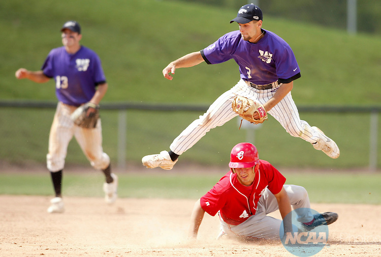 31 MAY 2005:  Nicholas Teach (3) of the University of Wisconsin-Whitewater turns a double play against SUNY-Cortland during the Division III Men's Baseball Championship held at Fox Cities Stadium in Grand Chute, WI.  UW-Whitewater defeated SUNY-Cortland 11-4 for the national title.  Allen Fredrickson/NCAA Photos