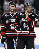 Adam Reid (NU - 8), Jarrett Fennell (NU - 61) - The visiting Northeastern University Huskies defeated the Boston University Terriers 6-5 on Friday, January 18, 2013, at Agganis Arena in Boston, Massachusetts.