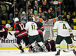 29 December 2010: The University of Vermont Catamounts have a goal disallowed by the referee, even though the goal judge had illuminated the red light during a game against the 2011 U.S. Men's National University Team in an exhibition game at Gutterson Fieldhouse in Burlington, Vermont. The Catamounts defeated the National team 7-1. Mandatory Credit: Ed Wolfstein Photo