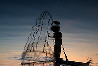 Traditional fisherman on Inle lake, Shan State, Myanmar/Burma
