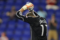 Colorado Rapids goalkeeper Ian Joyce (17) pours water down his neck as game time temperature was 90 degrees. The New York Red Bulls defeated the Colorado Rapids 3-0 during a U. S. Open qualifier match at Red Bull Arena in Harrison, NJ, on May 26, 2010.