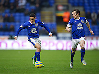BOLTON, ENGLAND - Saturday, January 26, 2013: Everton's Steven Pienaar and Leighton Baines in action against Bolton Wanderers during the FA Cup 4th Round match at the Reebok Stadium. (Pic by David Rawcliffe/Propaganda)