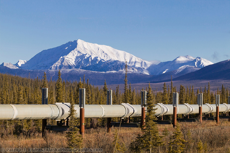 Trans Alaska Oil Pipeline crosses the tundra of the Brooks range, Alaska