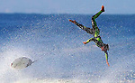 27 September 2007, Hossegor, France --- An unidentified surfer flies over a wave after loosing control of his surfboard during the Quiksilver Pro France, which is a part of the Foster's ASP World Tour of Surfing, at Hossegor in the south west coast of France. Photo by Victor Fraile --- Image by © Victor Fraile/Corbis