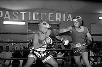 Roma  Giugno 1997.Incontro  di boxe dilettanti a San Basilio.Locatelli (S.Feuda) vs Faiella ( Magliano Sabina).