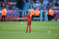 Cardiff City Stadium, Cardiff, South Wales - Tuesday 12th Aug 2014 - UEFA Super Cup Final - Real Madrid v Sevilla - <br /> <br /> This ball boy has the field to himself<br /> <br /> <br /> <br /> <br /> Photo by Jeff Thomas/Jeff Thomas Photography