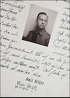 BNPS.co.uk (01202 558833)<br /> Pic: Mullocks/BNPS<br /> <br /> ***Please Use Full Byline***<br /> <br /> Helmut Nieboy in his diaries - signed off Heil Hitler..<br /> <br /> Sinister archive illustrating the Nazi brainwashing of German youth comes to light...<br /> <br /> A chilling archive of an enthusiastic member of the Hitler Youth has emerged to highlight how the Nazi's brainwashed German children in the build up to WW2<br /> <br /> Helmut Nieboy kept detailed diaries during his time with the German equivalent of the Boy Scouts from 1933.<br /> <br /> Helmut also amassed a number of photographs of his time with the paramilitary group, showing the youngsters sitting around a campfire, marching and at rallies. <br /> <br /> The diaries also include incredibly detailed route marches as well as hand drawn portraits of the beloved Fuhrer with patriotic slogans.<br /> <br /> The archive, that also includes his Hitler Youth tent, knife and trumpet, are being sold by Mullock's Auctioneers of Shropshire.