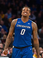 NEW YORK, NY - Thursday March 9, 2017: Marcus Foster (#0) of Creighton reacts to a play as his bluejays take on Providence in the Quarterfinals of the Big East Tournament at Madison Square Garden.