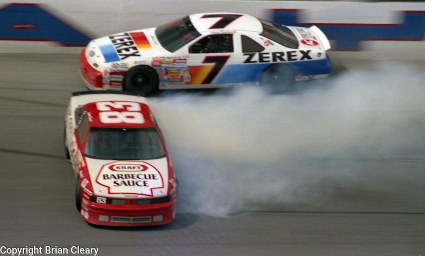Alan Kulwicki Lake Speed 125 mile qualifying race crash at Daytona International Speedway on February  1989.  (Photo by Brian Cleary/www.bcpix.xom)