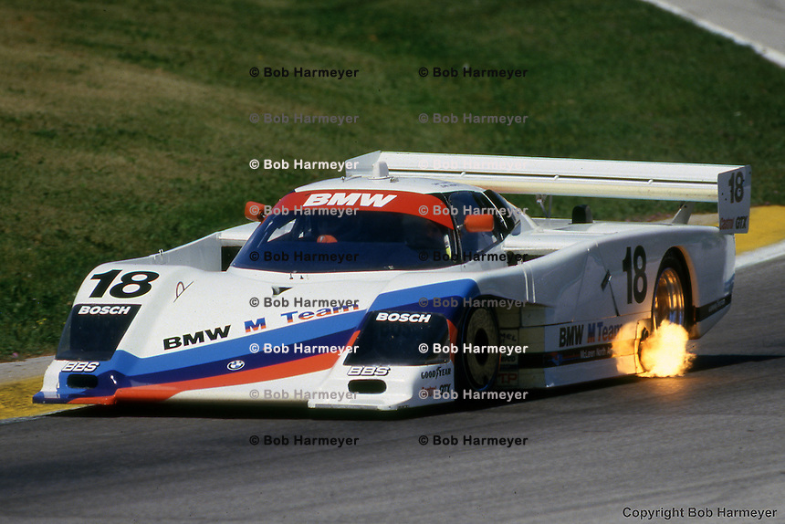 The BMW GTP driven by Davy Jones and John Andretti during the 1986 ...
