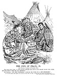 """The Pipe of Peace. - II. (See Punch's cartoon of November 9th.) The Great Dry Chief. """"I was half afraid my navy cut might make you sick; But so far I see no ill effects."""" Mr Balfour. """"On the contrary, I could do with it a bit stronger."""" [""""At the first glance our experts are inclined to think that too large a tonnage has been allotted to submarines."""" Mr Balfour at the Washington Conference.]"""