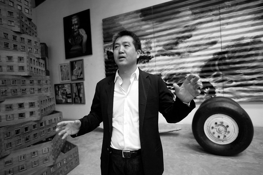 Chinese art collector Guan Yi in his warehouse in Songzhuang Village, near Beijing October 17, 2008.