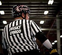 Outside pack referee Frisky Dingo skates past the camera, twisted around to get a better view of the skaters.