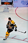 24 January 2009: Boston Bruins' defenseman Zdeno Chara glances back to see his score as he attains a new NHL record for the hardest shot, with a speed of 105.4 miles per hour in the NHL SuperSkills Competition, part of the All-Star Weekend at the Bell Centre in Montreal, Quebec, Canada. ***** Editorial Sales Only ***** Mandatory Photo Credit: Ed Wolfstein Photo