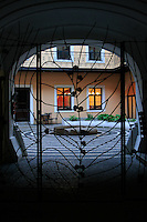 Courtyard in black frame.