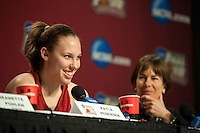INDIANAPOLIS, IN - APRIL 2, 2011: Kayla Pedersen answers questions during a press conference at the NCAA Final Four in Indianapolis, IN on April 1, 2011.
