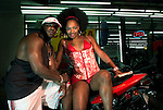A couple at the famous Black Biker Week, held annualy in Myrtle Beach, SC.