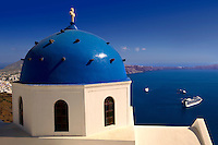 Blue Domed church of Imerovigli, Santorini, Greece.