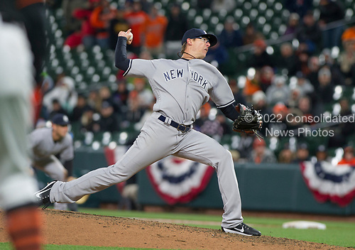 New York Yankees relief pitcher Tyler Clippard (29) pitches to Baltimore Orioles right fielder Seth Smith in the seventh inning at Oriole Park at Camden Yards in Baltimore, MD on Friday, April 7, 2017.  The Orioles won the game 6 - 5.<br /> Credit: Ron Sachs / CNP<br /> (RESTRICTION: NO New York or New Jersey Newspapers or newspapers within a 75 mile radius of New York City)