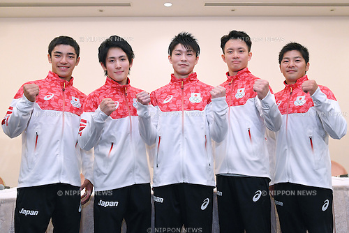 (L-R) Kenzo Shirai, Ryohei Kato, Kohei Uchimura, Yusuke Tanaka, Koji Yamamuro (JPN), <br /> JULY 19, 2016 - Artistic Gymnastics : <br /> Japan Men's Artistic Gymnastics national team send-off press conference <br /> for the Rio 2016 Olympic Games in Tokyo, Japan. <br /> (Photo by AFLO SPORT)