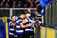Jack Wilson of Bath Rugby celebrates his try with team-mates. Aviva Premiership match, between Bath Rugby and Bristol Rugby on November 18, 2016 at the Recreation Ground in Bath, England. Photo by: Patrick Khachfe / Onside Images