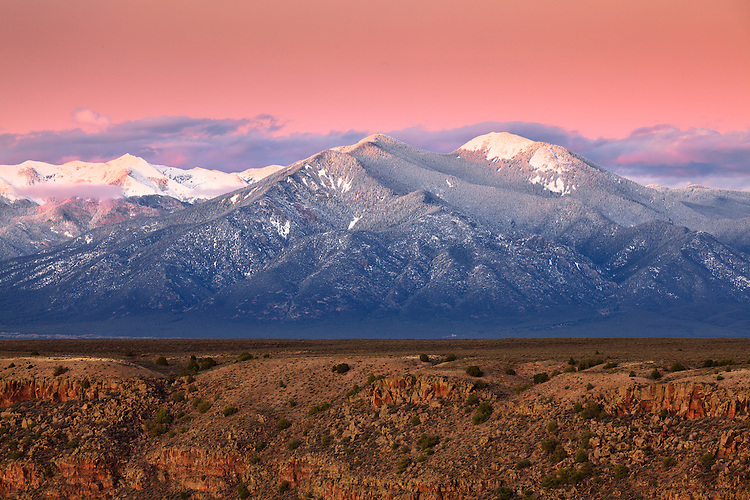 Sunset on Taos Mountain after the first snowfall of the 2011-2012 season in Taos, New Mexico.
