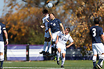 21 October 2012: Northwestern's Chris Ritter (6) and Penn State's Marvin Ledgister (ENG) (14) challenge for the ball above Northwestern's Layth Masri (3). The Northwestern University Wildcats played the Penn State University Nittany Lions at Lakeside Field in Evanston, Illinois in a 2012 NCAA Division I Men's Soccer game. Penn State won the game 1-0 in golden goal overtime.