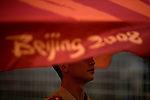 A military police officer stands guard at the venue entrance to the Olympic Games in Beijing, China on Monday, August 4, 2008. The city of Beijing is gearing up for the opening ceremonies of the Olympic Games.  Kevin German