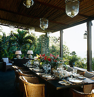 Lunch is laid on one of the many shaded terraces that surround the property