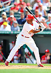 3 March 2011: St. Louis Cardinals' outfielder Adron Chambers in action during a Spring Training game against the Washington Nationals at Roger Dean Stadium in Jupiter, Florida. The Cardinals defeated the Nationals 7-5 in Grapefruit League action. Mandatory Credit: Ed Wolfstein Photo