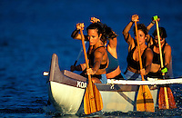 Tiare practicing with her womes outrigger canoe team on the Kona coast , Big Island Hawaii