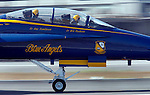 The U.S. Navy's precision flight demonstration team, the Blue Angels, arrived in formation, at San Francisco International Airport.