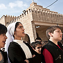 Iraq - Kurdistan - Ankawa - Children singing religious songs outside St Joseph Cathedral.