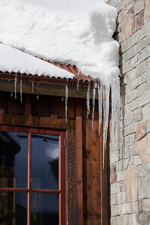 """Icicles in Downtown Truckee 1"" - These icicles were photographed in a very snowy November in Downtown Truckee, CA."