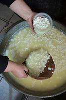 Italie, Val d'Aoste, Parco Nazionale del Gran Paradiso (Parc National du Grand Paradis), Cogne: Ferme: Azienda Agricola Pra Su Fiaz:  Mirella Jeantet: prépare ses fromages:    Reblec (issu du petit lait) et   Tomme  // Italy, Aosta Valley, Parco Nazionale del Gran Paradiso (Gran Paradiso National Park), Cogne: Hamlet  Epinel:  Farm: Azienda Agricola Pra Su Fiaz: Mirella Jeantet: prepares its cheese: Reblec (from whey) and Tomme