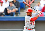 7 March 2012: St. Louis Cardinals' Oscar Tavares in action against the Washington Nationals at Space Coast Stadium in Viera, Florida. The teams battled to a 3-3 tie in Grapefruit League Spring Training action. Mandatory Credit: Ed Wolfstein Photo