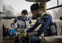 Later race winner Guillaume van Keirsbulck (BEL/Wanty-Groupe Gobert) during the pre-race prep in the team bus <br /> <br /> GP Le Samyn 2017 (1.1)