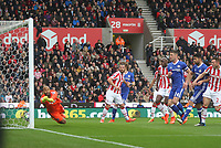 Stoke City's Lee Grant sees a Chelsea's Willian gets past him for the first Chelsea goal<br /> <br /> Photographer Mick Walker/CameraSport<br /> <br /> The Premier League - Stoke City v Chelsea - Saturday 18th March 2017 - bet365 Stadium - Stoke<br /> <br /> World Copyright &copy; 2017 CameraSport. All rights reserved. 43 Linden Ave. Countesthorpe. Leicester. England. LE8 5PG - Tel: +44 (0) 116 277 4147 - admin@camerasport.com - www.camerasport.com