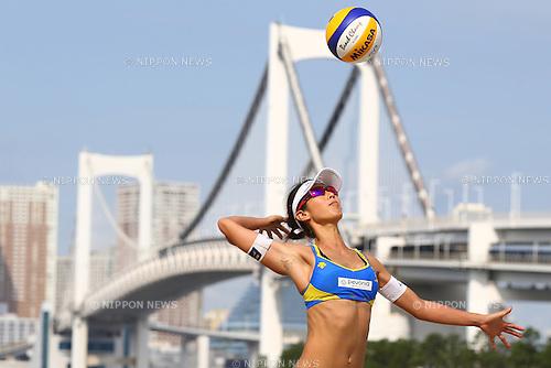 Satoko Urata,<br /> SEPTEMBER 21, 2015 - Beach Volleyball : <br /> JBV Tour 2015 Tokyo Open<br /> Women's Semi-Final<br /> at Odaiba Beach, Tokyo, Japan.<br /> (Photo by Shingo Ito/AFLO SPORT)