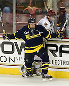 Ryan Flanigan (Merrimack - 20), Tommy Cross (BC - 4) - The Boston College Eagles defeated the visiting Merrimack College Warriors 3-2 on Friday, October 29, 2010, at Conte Forum in Chestnut Hill, Massachusetts.
