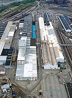 aerial view above Arcelor Mittal Cleveland Works steel mill Ohio