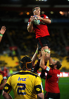 Andrew Hore watches Brad Thorn win a lineout. Super 15 rugby match - Crusaders v Hurricanes at Westpac Stadium, Wellington, New Zealand on Saturday, 18 June 2011. Photo: Dave Lintott / lintottphoto.co.nz