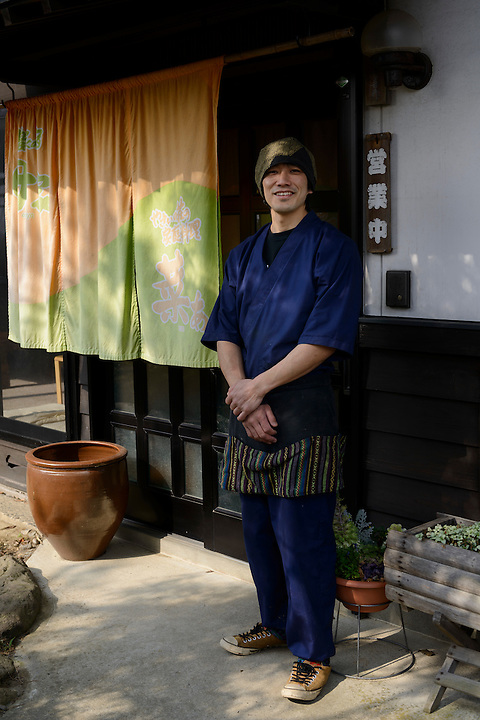 Norimasa Onodera, manager of the Omoya Guesthouse and Onodera Farm, which serve dishes made with local mountain vegetables. Tsuruoka, Yamagata Prefecture, Japan, April 10, 2016. The city of Tsuruoka in Yamagata Prefecture is famous for its sansai mountain vegetable cuisine. These foraged grasses, fungi and vegetables are also used by the mountain ascetics of the Shugendo religion.