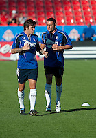 July 21, 2010  Bolton Wanderer Mark Davies No.16 and Bolton Wanderers Paul Robinson No. 4 in action during the warm-up of the Carlsberg Cup match between the Bolton Wanderers FC and Toronto FC at BMO Field in Toronto..Th Bolton Wanderrs FC won 4-3 on penalty kicks.