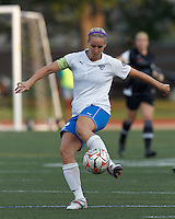 Boston Breakers midfielder Leslie Osborne (12) passes the ball. In a Women's Premier Soccer League Elite (WPSL) match, the Boston Breakers defeated New England Mutiny, 4-2, at Dilboy Stadium on June 20, 2012.