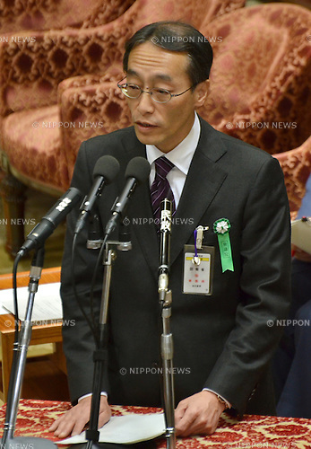 February 3, 2012, Tokyo, Japan - Ro Manabe, chief of the Defense Ministrys Okinawa Defense Bureau, testifies during a Diet lower house Budget Committee meeting in Tokyo on Friday, February 3, 2012. Manabe has come under suspicion of tampering with the upcoming mayoral election in Ginowan, Okinawa Prefecture, where the U.S. Marine Corps Futenma Air Station is located. Manabe might not have violated any law by reportedly holding lectureson the local elections to his subordinates, according to the media reports. Defense Minister Naoki Tanaka, however, has no other choice but to sack him to lessen the damage to the government of Prime Minister Yoshihiko Noda. (Photo by Natsuki Sakai/AFLO) AYF -mis-